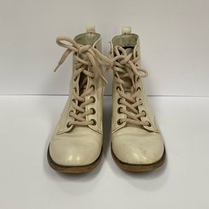 Leila Stone Off White Combat Boots